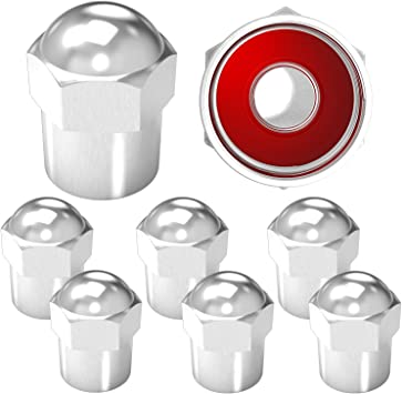 Silver 20 Pieces Brass Tire Valve Caps Valve Stem Caps in Hexagon Shape with Rubber O-Ring Seal Stem Covers Dust Proof Covers Fits for Car Truck Motorcycles Bike and Bicycle