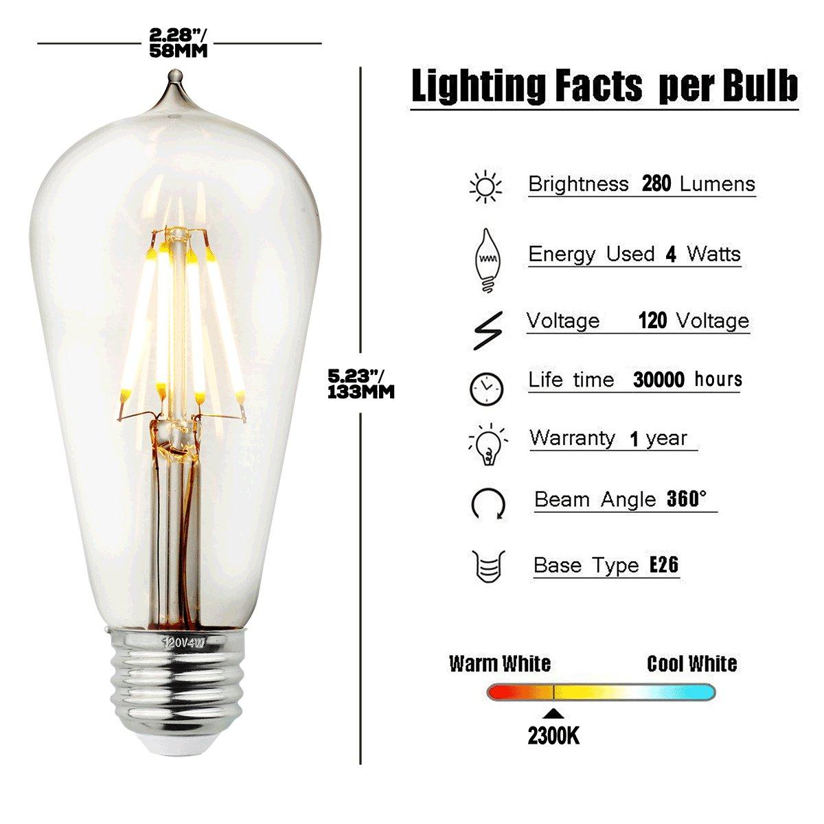 Judy Lighting - 4-Pack Dimmable LED Edison Light Bulb E26 Standard Medium Base (4W LED Warm White)