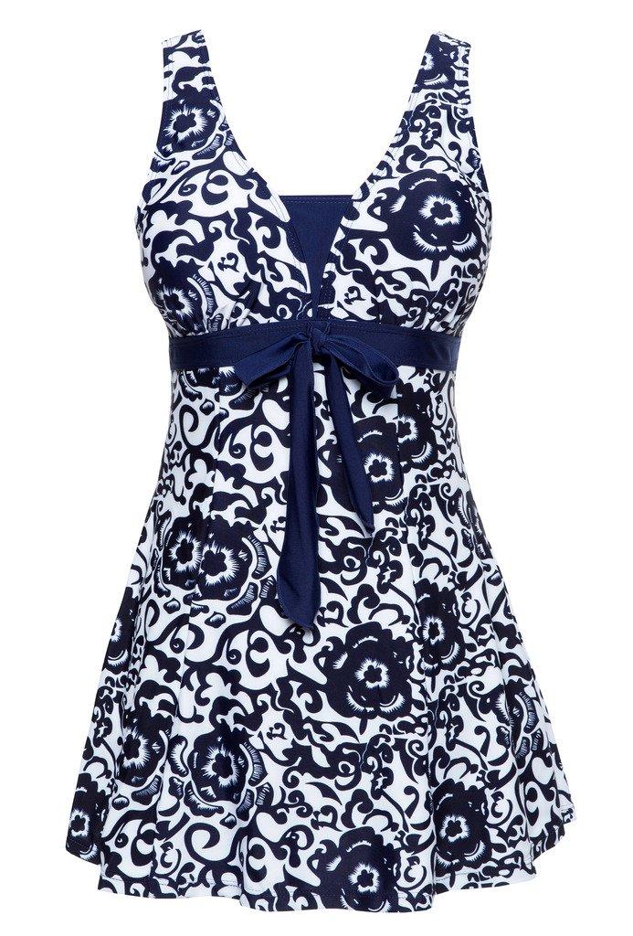 Wantdo Women's Summer Style Swimwear Swimsuit Tankini Cute Big Bust Dress Navy US 8-10