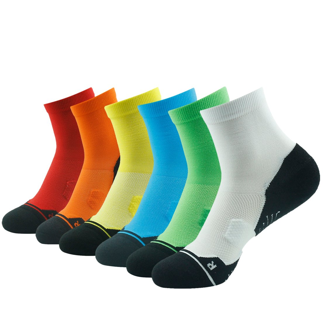 6 Pair bluee&green&orange&white&red&yellow Running Socks Support, HUSO Men Women High Performance Arch Compression Cushioned Quarter Socks 1,2,3,4,6 Pairs