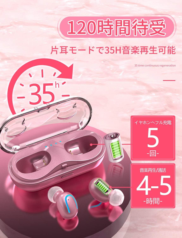 【女性に大人気】Kinganda Bluetooth イヤホン 5.0 進級版 可愛い ピンク 完全 ワイヤレスイヤホン 最新のTWS技術 運動にも最適