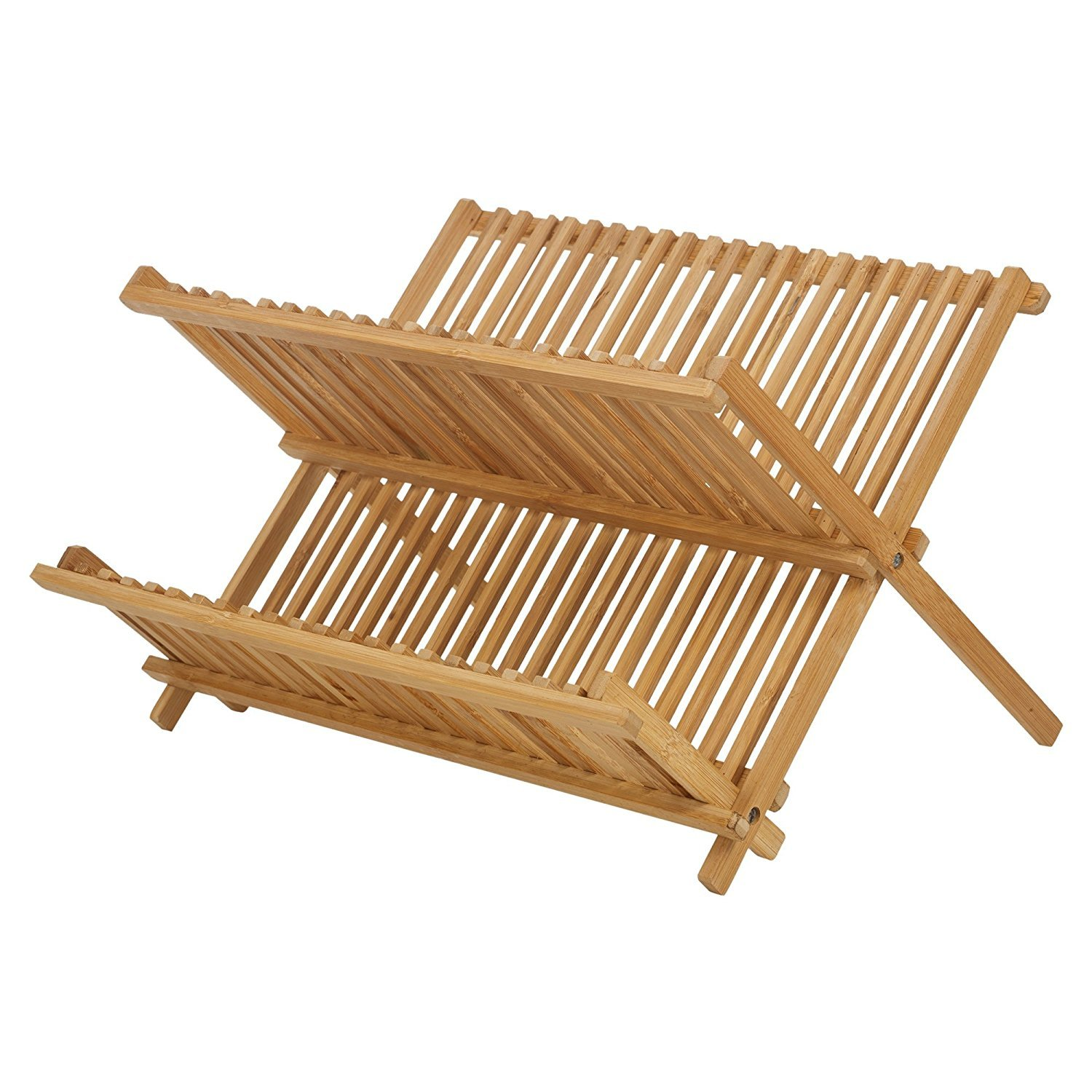 Bamboo Folding Beech Dish Plate Drainer Foldable Draining Board Wooden Rack New