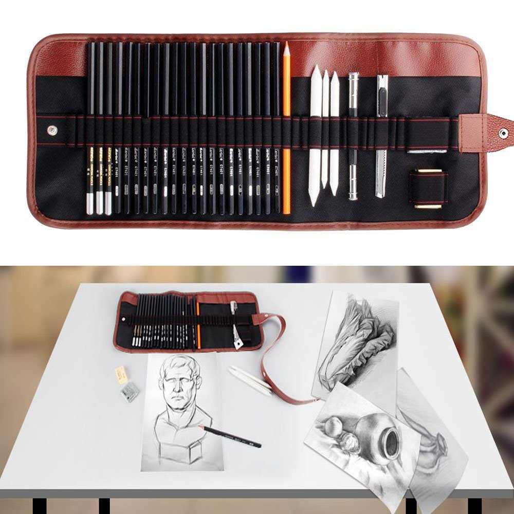 29 piece total sketching art kit sketch pencil chorcoal pencils erasers craft knife pencil extender and portable rolled up canvas of sketch set for