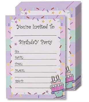 Tarjetas de invitación de cumpleaños Juvale, 24 invitaciones ...