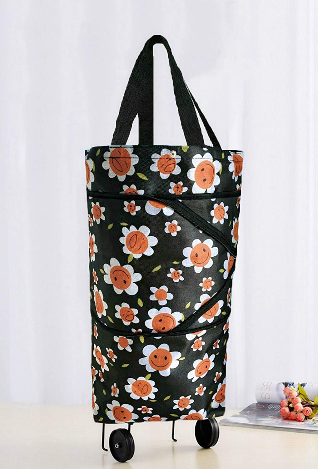 Nice Red Floral Cocobuy Collapsible Trolley Bags Folding Shopping Bag with Wheels Foldable Shopping Cart Reusable Shopping Bags Grocery Bags Shopping Trolley Bag on Wheels for Women