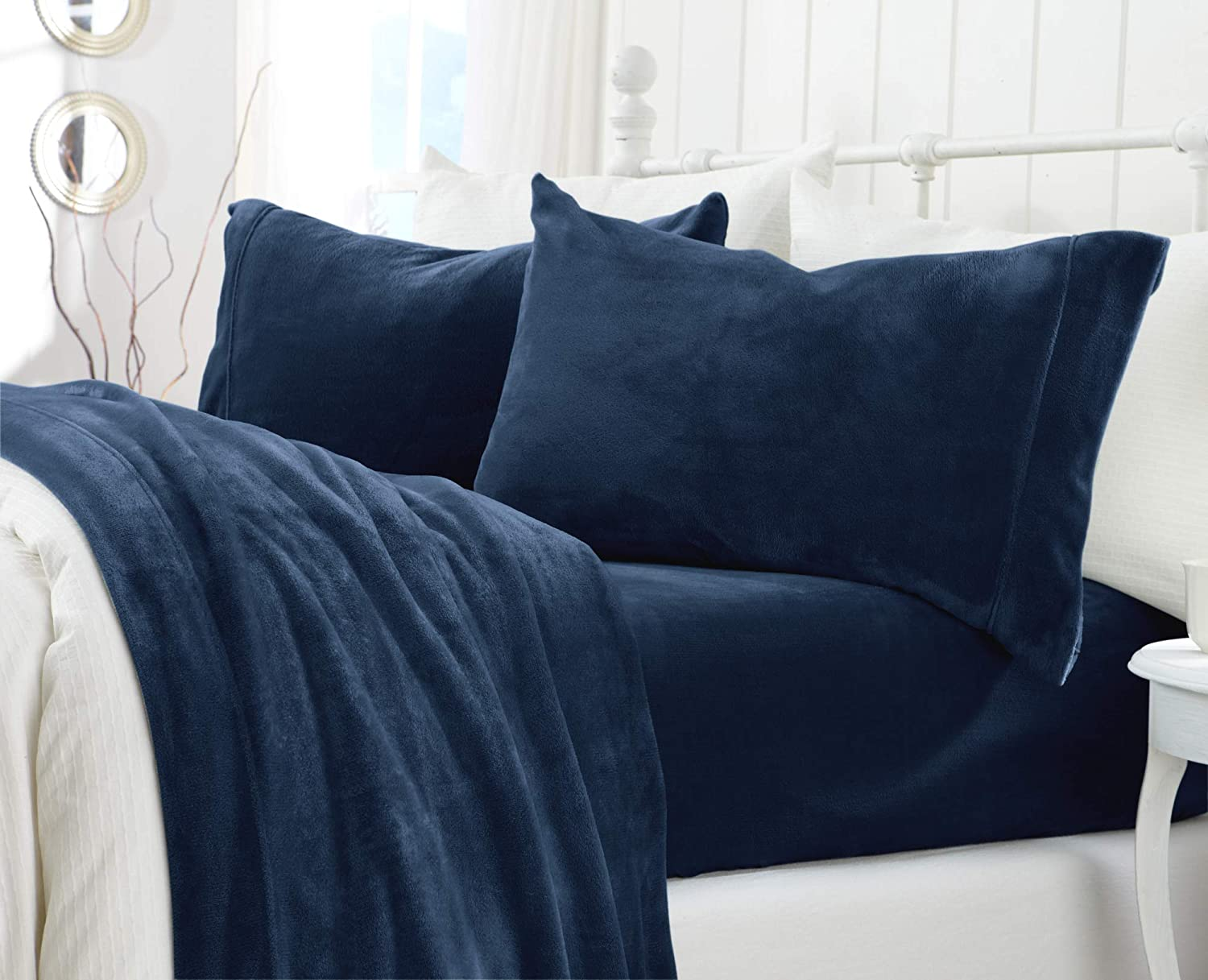 Great Bay Home Extra Soft Cozy Velvet Plush Sheet Set. Deluxe Bed Sheets with Deep Pockets. Velvet Luxe Collection (Full, Denim Blue)