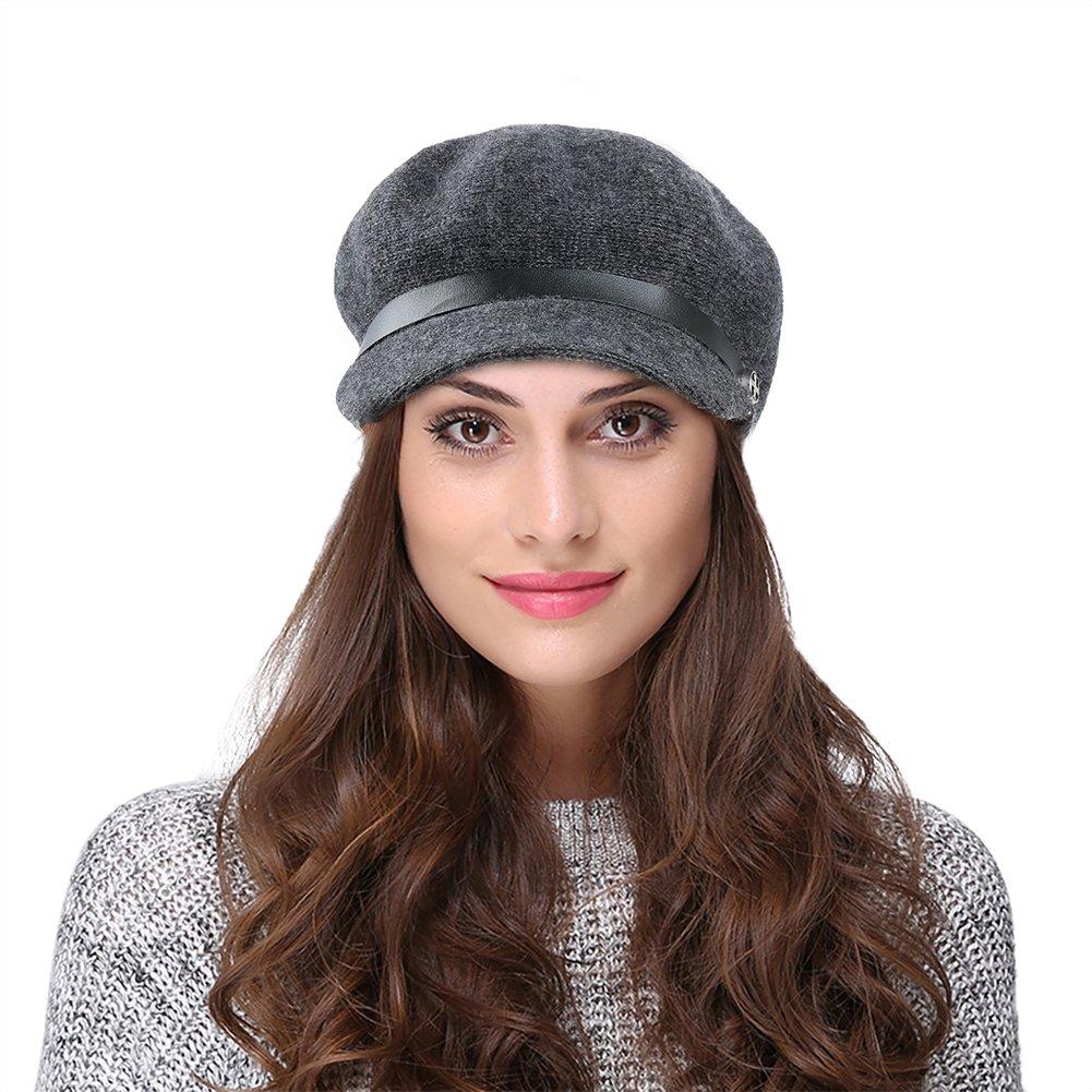 Vbiger Women Woolen Fedora Newboys Hat Visor Beret (Dark Grey)