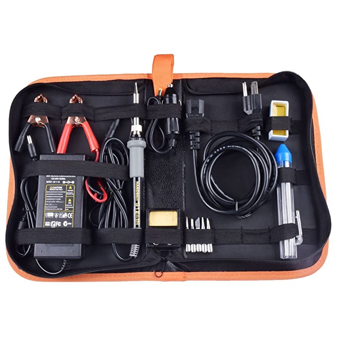 Amazon.com: Soldering Iron, Soldering Iron Kit, 35W Adjustable Temperature Welding Tool, 5pcs Solder Soldering Iron Tip, with Car Battery Charger, ...