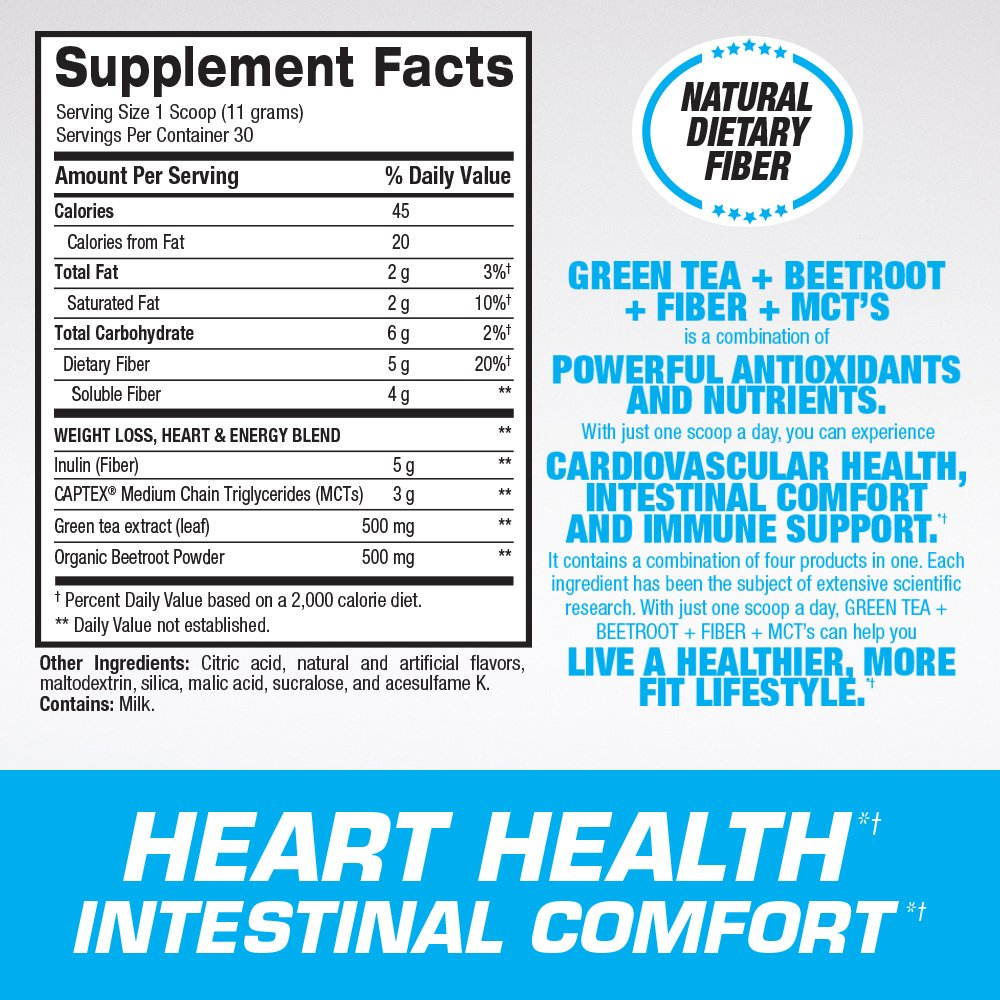 Green Tea Extract with Beetroot, Fiber and MCT's - For Healthy Weight Support, Cardiovascular and Intestinal Health – Powerful Antioxidant & Free Radical Protection – 30 Servings, Berry Splash