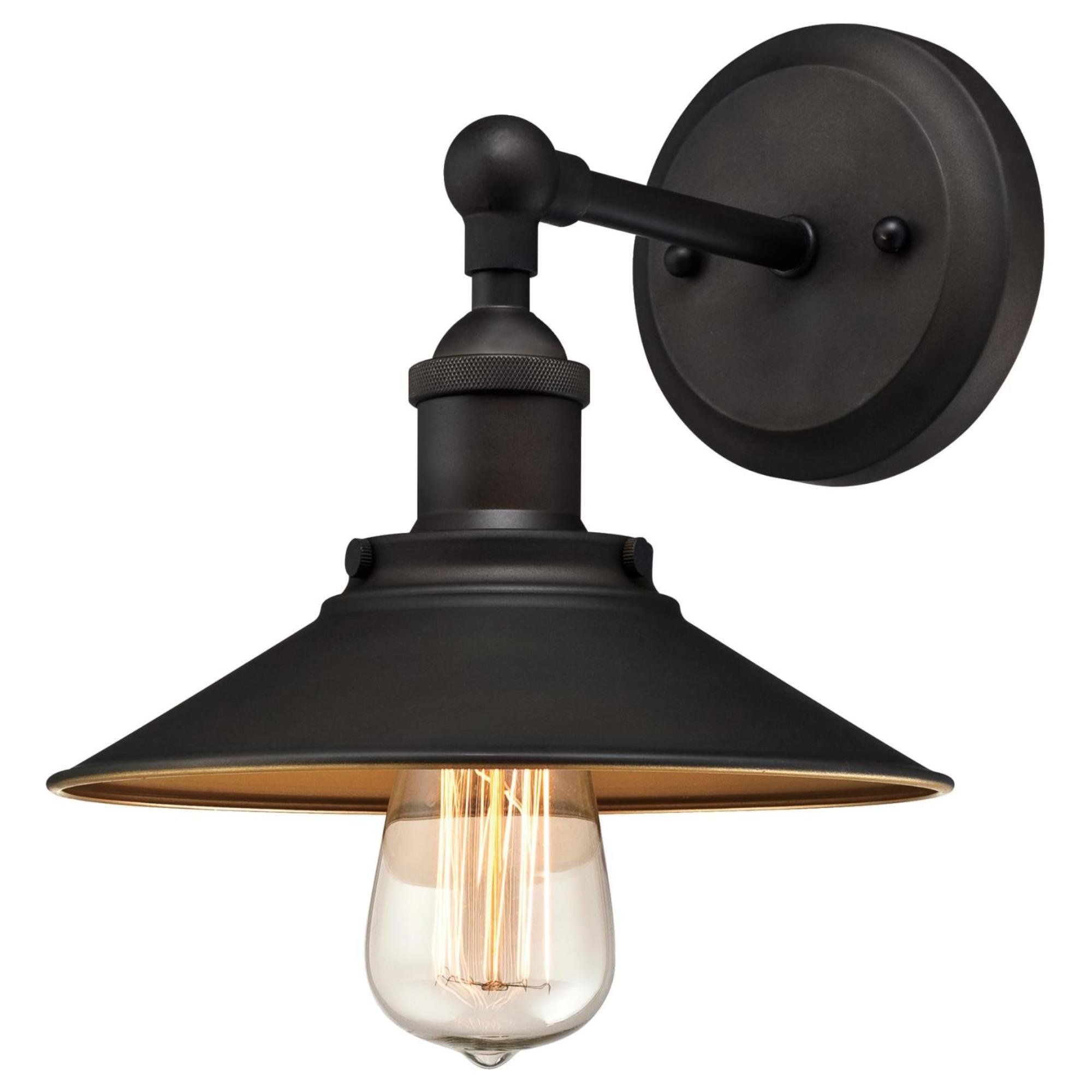 Westinghouse 6335500 Louis One-Light Indoor Wall Fixture, Oil Rubbed Finish and Metallic Bronze Interior
