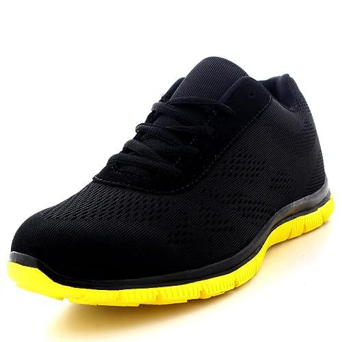 Mujer Get Fit Malla Go Corriendo Zapatillas Atlético Caminar Gimnasio Zapatos Sport Correr - Negro/Amarillo - UK3/EU36 - BS0114 Hc5aSGu