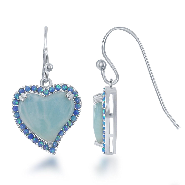 Sterling Silver Larimar & Created Blue Opal Heart Dangle Earrings