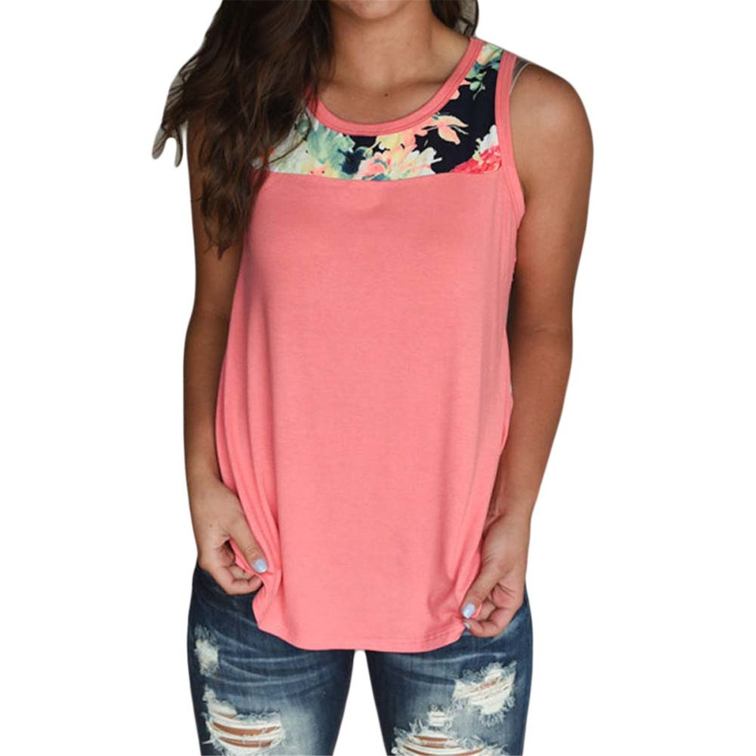 f0ba493f6ea004 Amazon.com  KennsGations Summer Cotton Floral Prints Sleeveless Tops  Patchwork Casual Loose Sexy Women Round Neck Tank Top Tshirts Plus Size  Pink M  ...