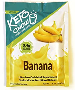 Keto Chow | Keto Meal Replacement Shake | Nutritionally Complete | Low Carb | Delicious Easy Meal Substitute | You Choose The Fat | Banana | Single Meal Sample