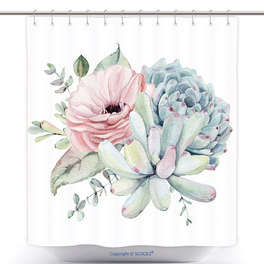Vanfan Durable Shower Curtains Watercolor Succulent Composition Isolated Objects Succulents Plant Hand Painted Vintage Garden Polyester Bathroom