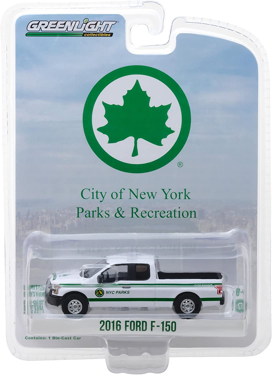 2016 Ford F-150 Pickup Truck White New York City Department of Parks and Recreation Blue Collar Collection Series 4 1/64 Diecast Model Car by Greenlight 35100 E