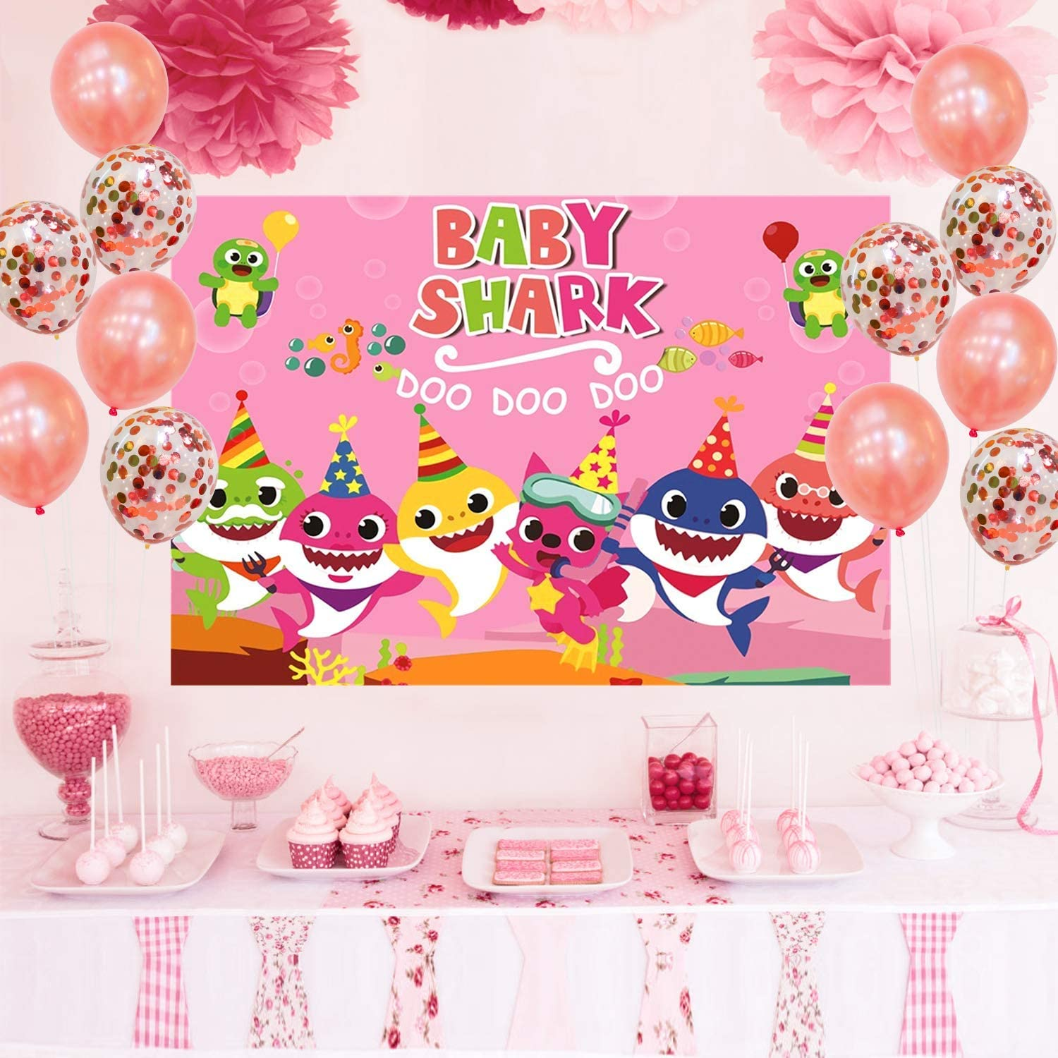 Doo Doo Doo Fabric Heavy Duty Pink Baby Shark Photo Happy Birthday Banner with Bonus Table Cover for Girl for Children Party Photography Backdrops Decorations of Ocean