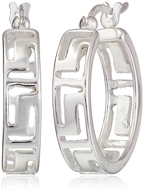 Sterling Silver Greek Key Cut-Out Hoop Earrings 24113801