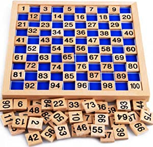 umbresen Wooden Toys Hundred Board Montessori 1-100 Consecutive Numbers Early Childhood Toys Digital Board for Kids with Storage Bag