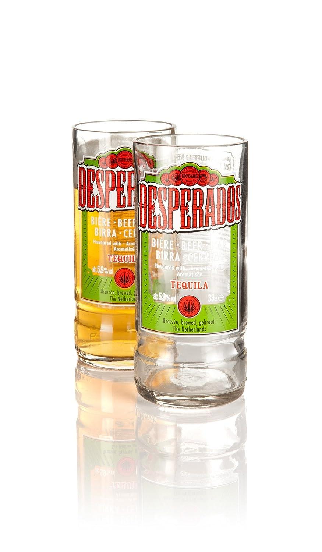 Juego de 2 vasos reciclados a partir de botellas de cerveza Desperados. Vidrio transformado en Devon por Glass ReFORM Regalo respetuoso con el medio ...