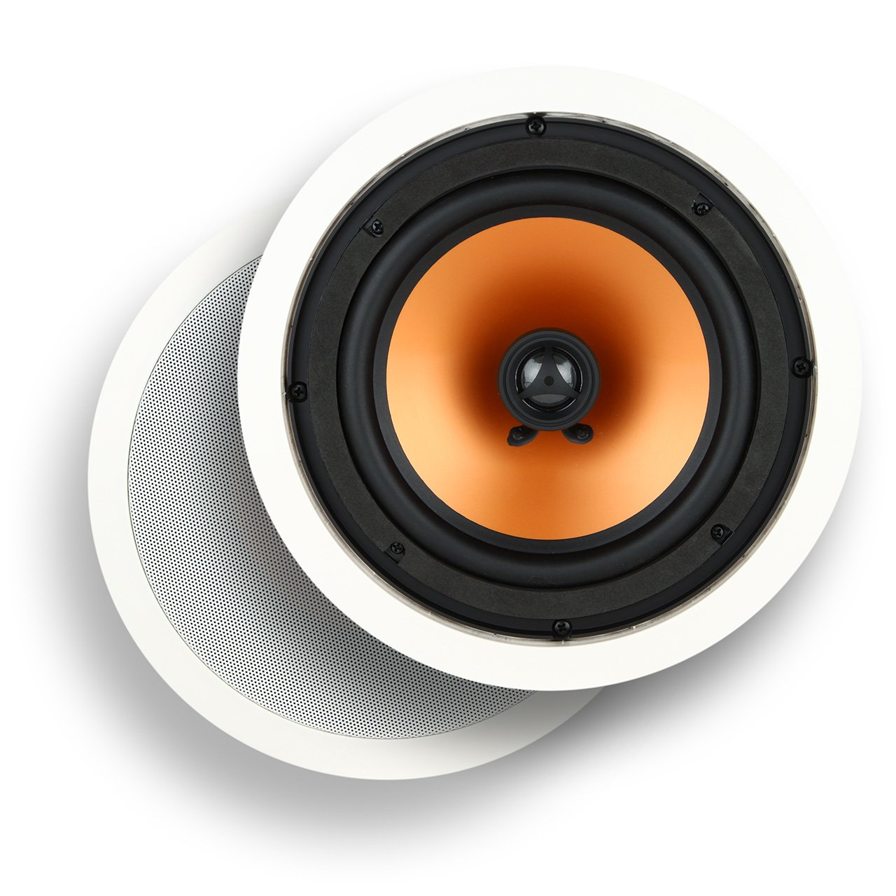 Micca M-8C 8 Inch 2-Way In-Ceiling In-Wall Speaker with Pivoting 1'' Silk Dome Tweeter (Each, White)