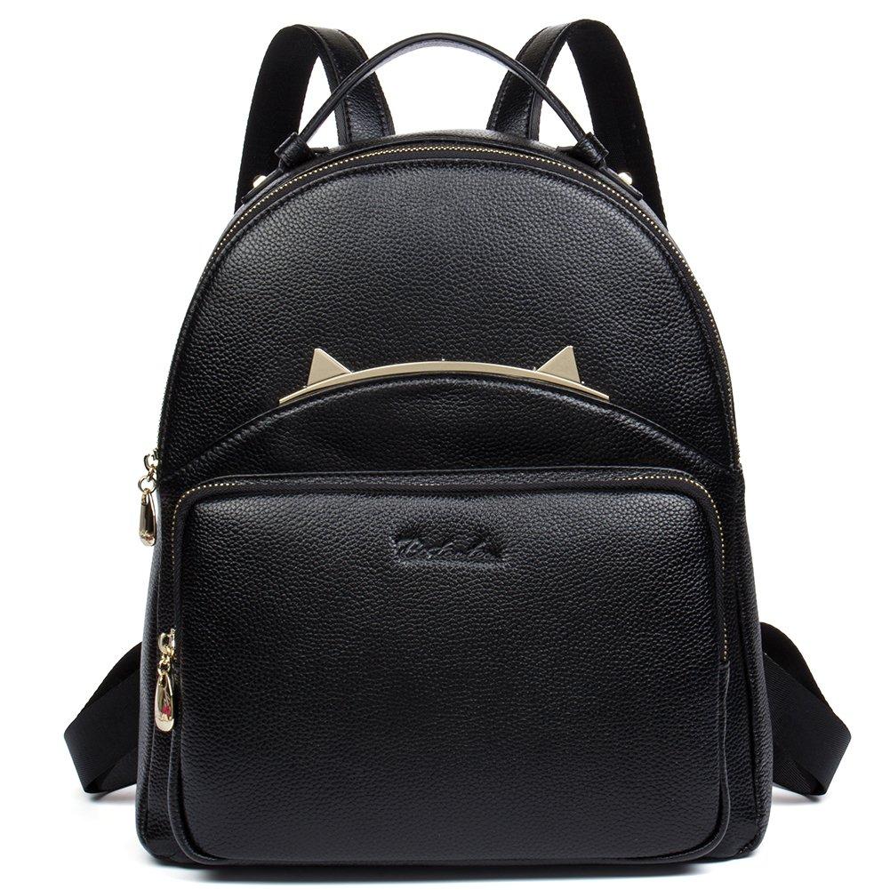 BOSTANTEN Genuine Leather Backpack Purse Shoulder Casual School Bag for Women Black BL6171031Kblack
