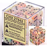 Chessex Dice d6 Sets: Festive Circus with Black - 12mm Six Sided Die (36) Block of Dice