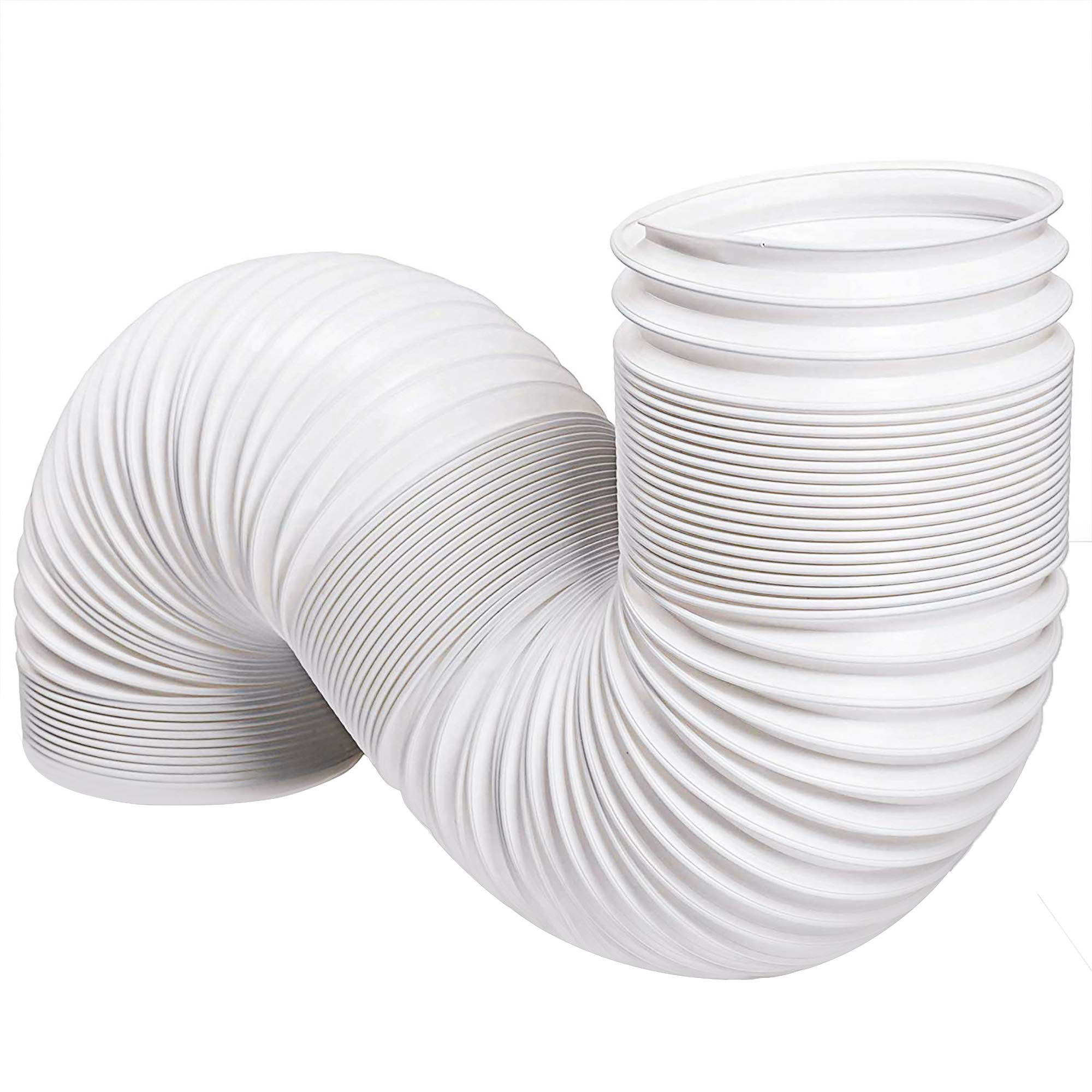 Portable Air Conditioner Exhaust Hose (78'' Long) 5 Inch Diameter, Counter-Clockwise Threads   AC Conditioning Unit Tubing   Flexible, Extendable Design   White  by Prime Package
