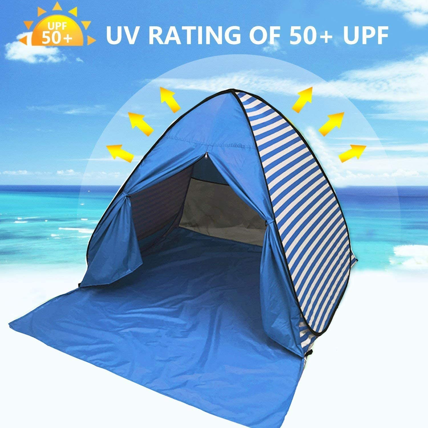 DIOSN Pop Up Beach Tent Beach Shade for 1 4 Persons,UPF 50 + UV Protection Sun Shelter Sun Shade,Automatic Kids Portable Tent Family Cabana Beach