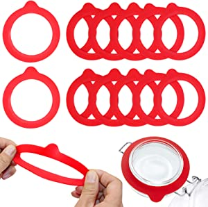 12 Pcs Replacement Silicone Jar Gaskets Food Grade Rubber Seals Airtight Silicone Gasket Sealing Rings 3.75 In (Red)