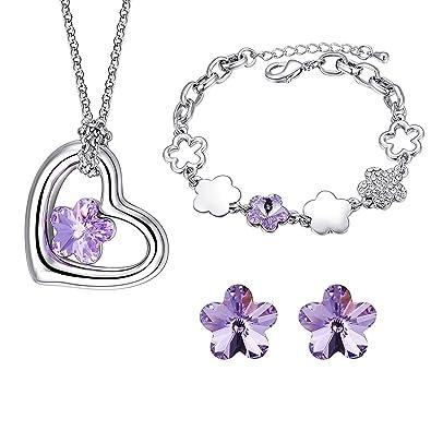 3dc024445a79 MONDAYNOON Conjuntos de Joyas Mujer Collar Colgante Pulsera Pendientes  Cristales Mejor Regalo para Chica Novia y
