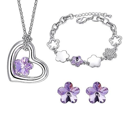 41f8c0d2b16c MONDAYNOON Conjuntos de Joyas Mujer Collar Colgante Pulsera Pendientes  Cristales Mejor ♥ Regalo San Valentin ♥ para Chica Novia y Mujer
