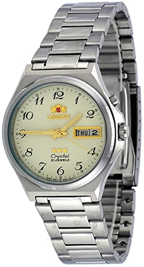 Orient # fem5 m014 C hombre 3 Star acero inoxidable números de color beige Dial día