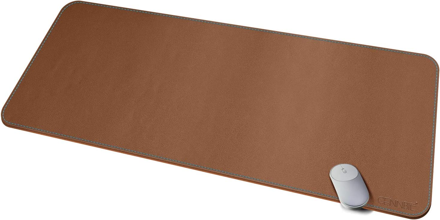 "CENNBIE 47.2""x19.6"" Extended Leather Gaming Mouse Pad/Mat, Large Office Writing Desk Computer Leather Mat Mousepad,Waterproof (Brown)"