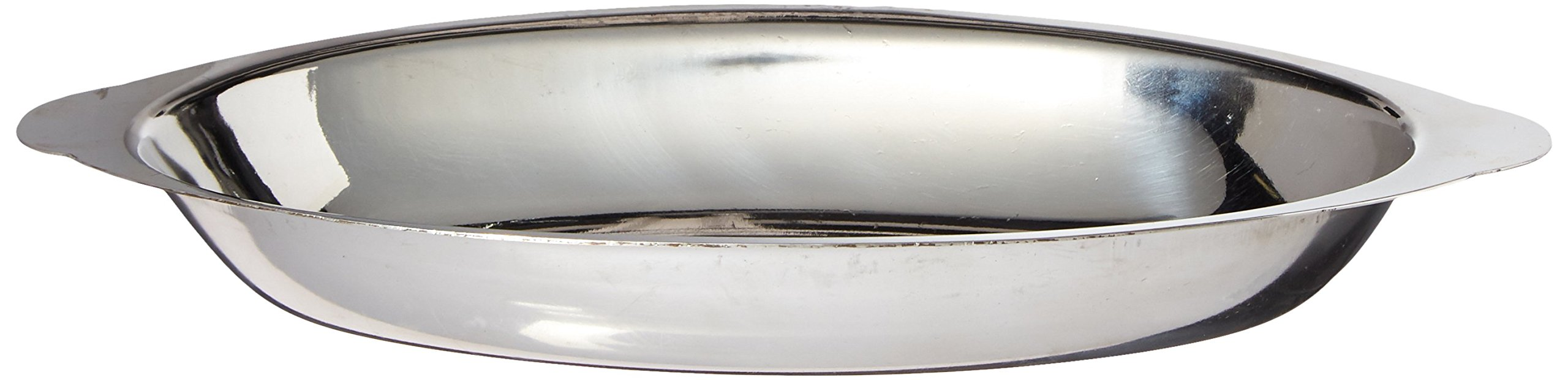 Winco ADO-12 Stainless Steel Oval Au Gratin Dish, 12-Ounce