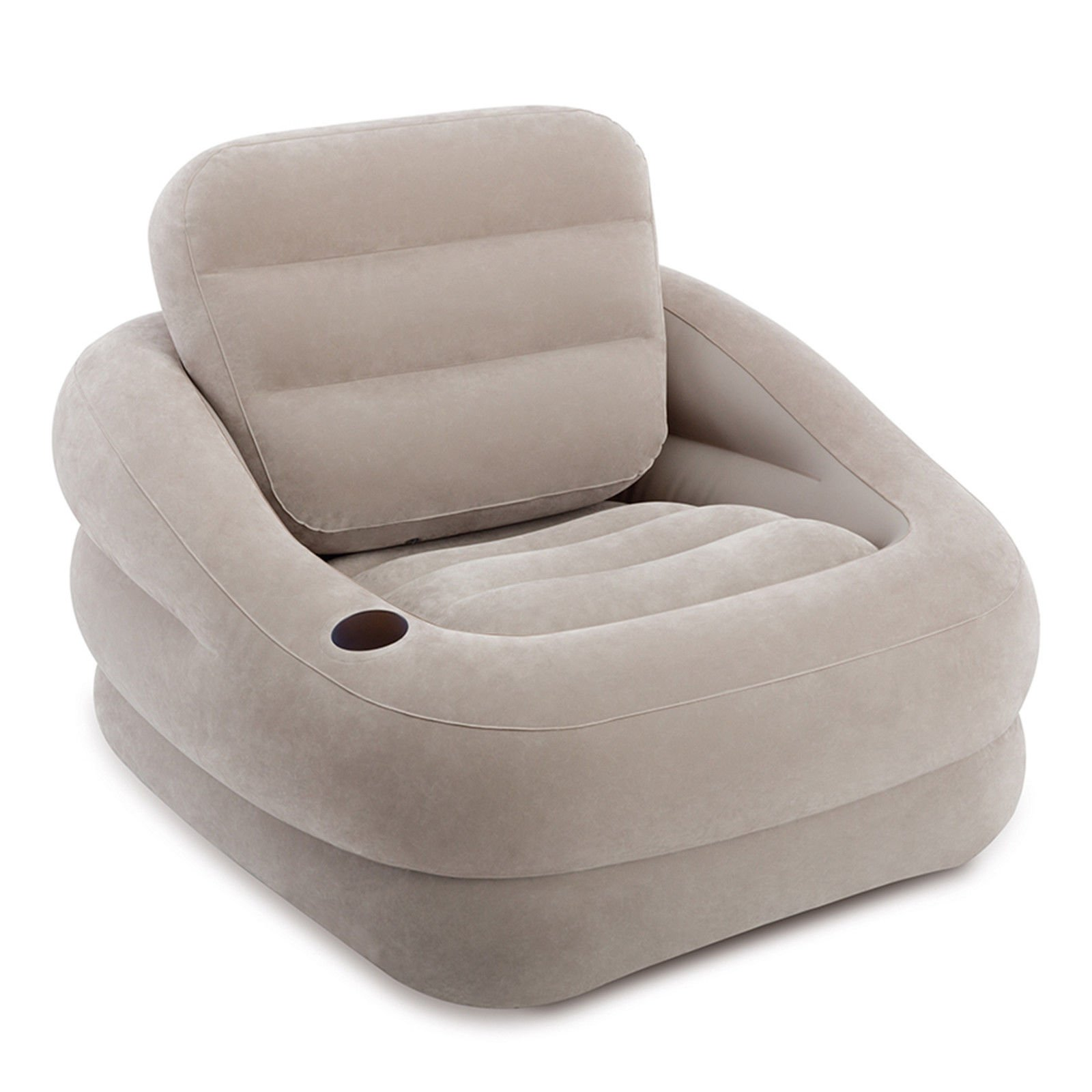 Inflatable Khaki Accent Chair with Cup Holder and Water Base With Ebook