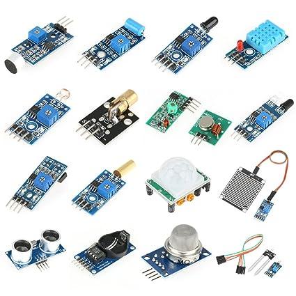 Akozon 16 pcs Kit de módulos de sensores profesionales Project Super Starter Kits para Raspberry Pi