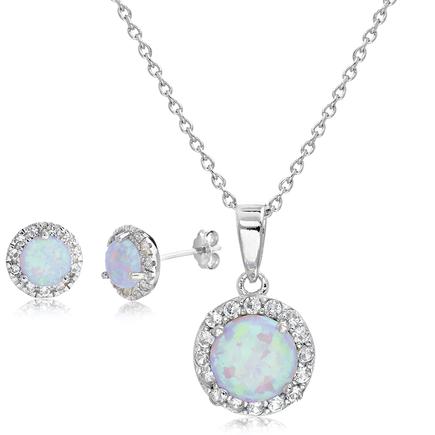 Lesa Michele Lab Created Opal & Cubic Zirconia 2pc Pendant & Earring Set in Sterling Silver