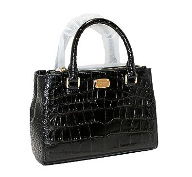 c9ced657cbaa34 MICHAEL Michael Kors Women's KELLEN XSMALL SATCHEL Embossed Leather  Shoulder Handbags (Black)