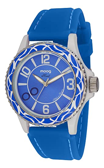 Moog Paris Huit Reloj para Mujer con Esfera Azul, Correa Azul de Silicona - M45524