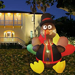 winemana 6 FT Thanksgiving Inflatable Turkey, Blow up Airblown Lighted Turkey Decor with LED Lights for Indoor Outdoor Yard Garden Thanksgiving Decoration