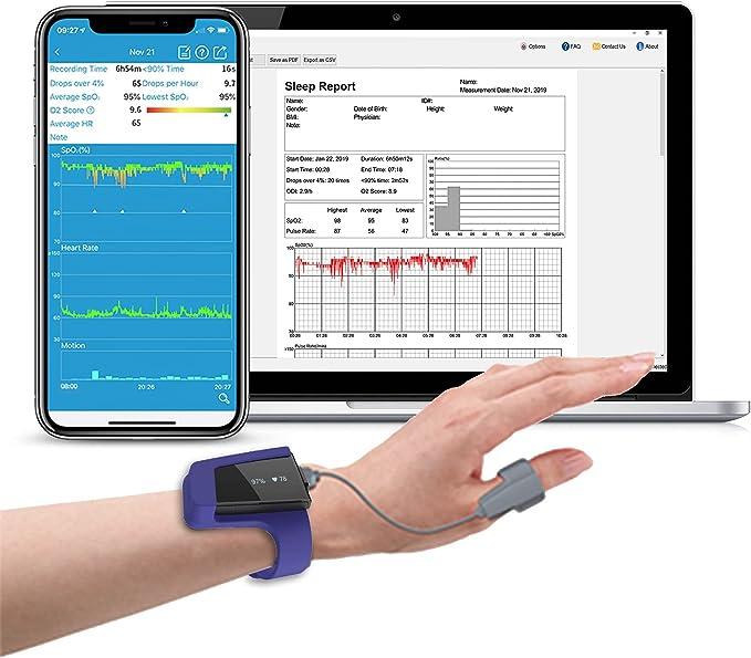 Wellue Sleep - O2 - Monitor | Wrist Health - Monitor Tracking Overnight O2 Level and Pulse Rate, Smart Vibration Alarm for Sleep Problem