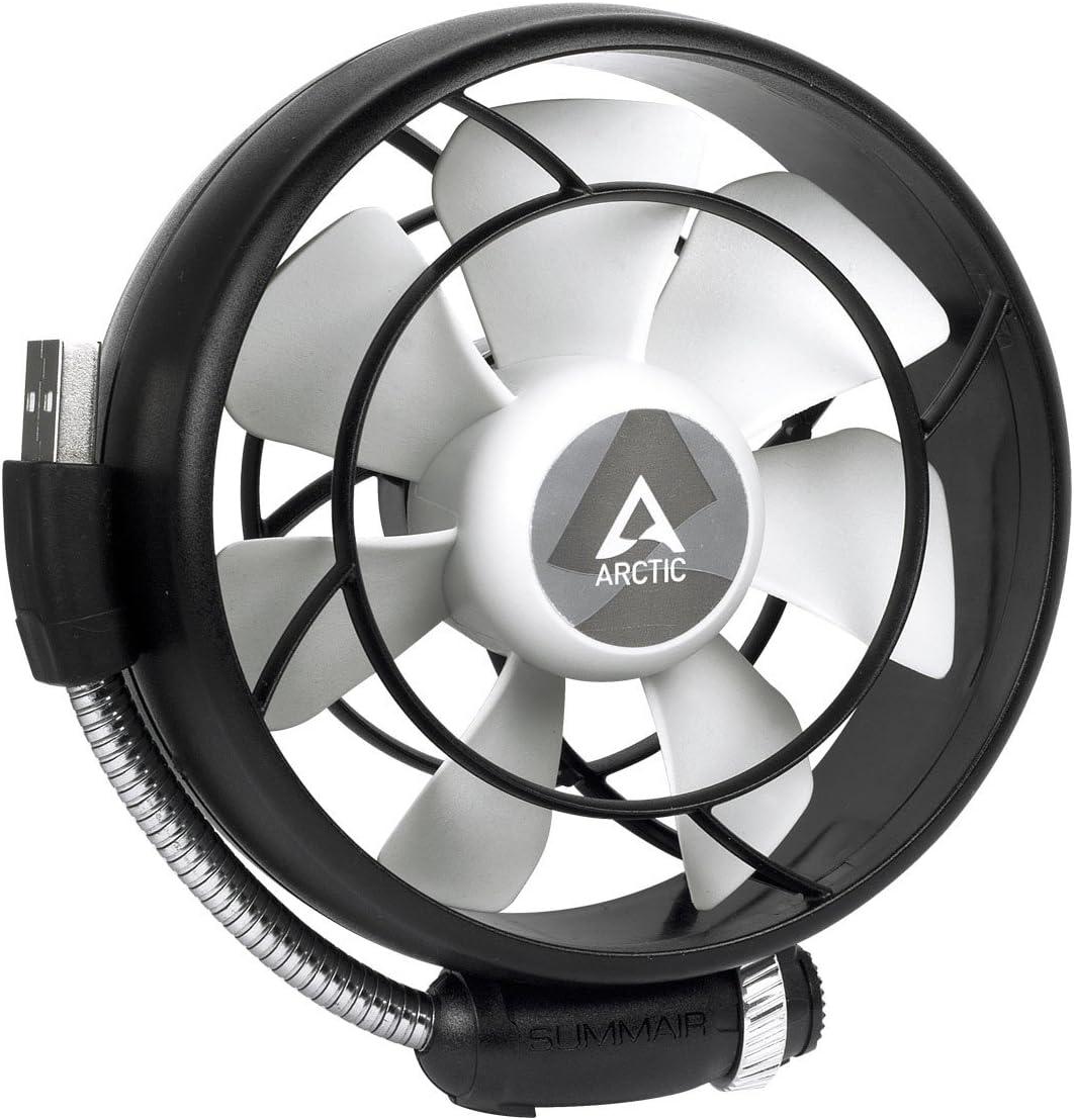 ARCTIC Summair Light - Ventilador USB Portátil para Escritorio / Oficina, Desktop Fan Cooler para Ordenador Portátil, Laptop, Macbook, Silent Fan - Negro