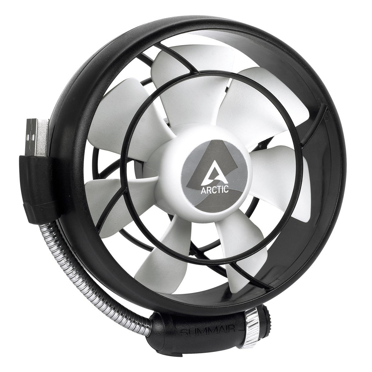 ARCTIC Summair Light - Portable USB Fan for Office I Desktop Fan Cooler for Computer, Laptop, Macbook I Silent Fan - Black