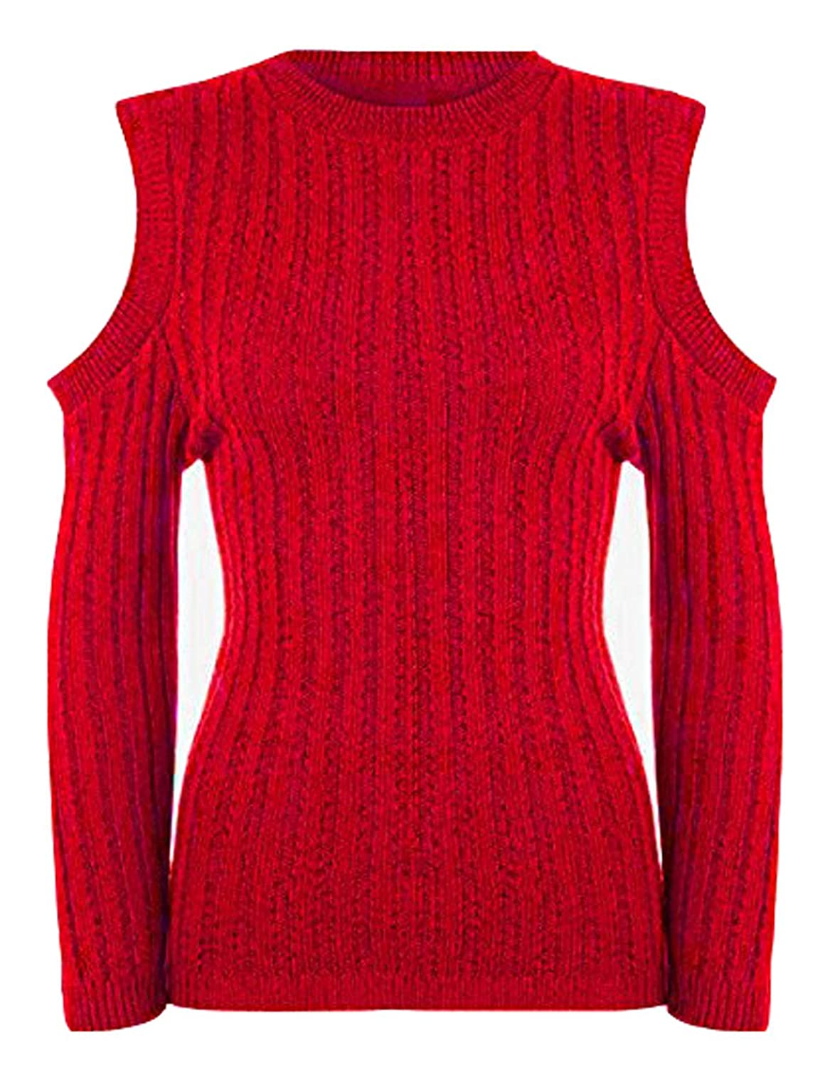 GUBA Big Girls' Cut Out Cold Shoulder Long Sleeve High Neck Rib Knitted Jumper