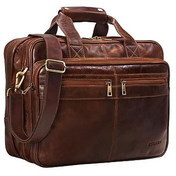 dba65283377f8 STILORD  Alexander  Lehrertasche Herren Leder braun Aktentasche Laptoptasche  Bürotasche Businesstasche Vintage groß XXL Umhängetasche