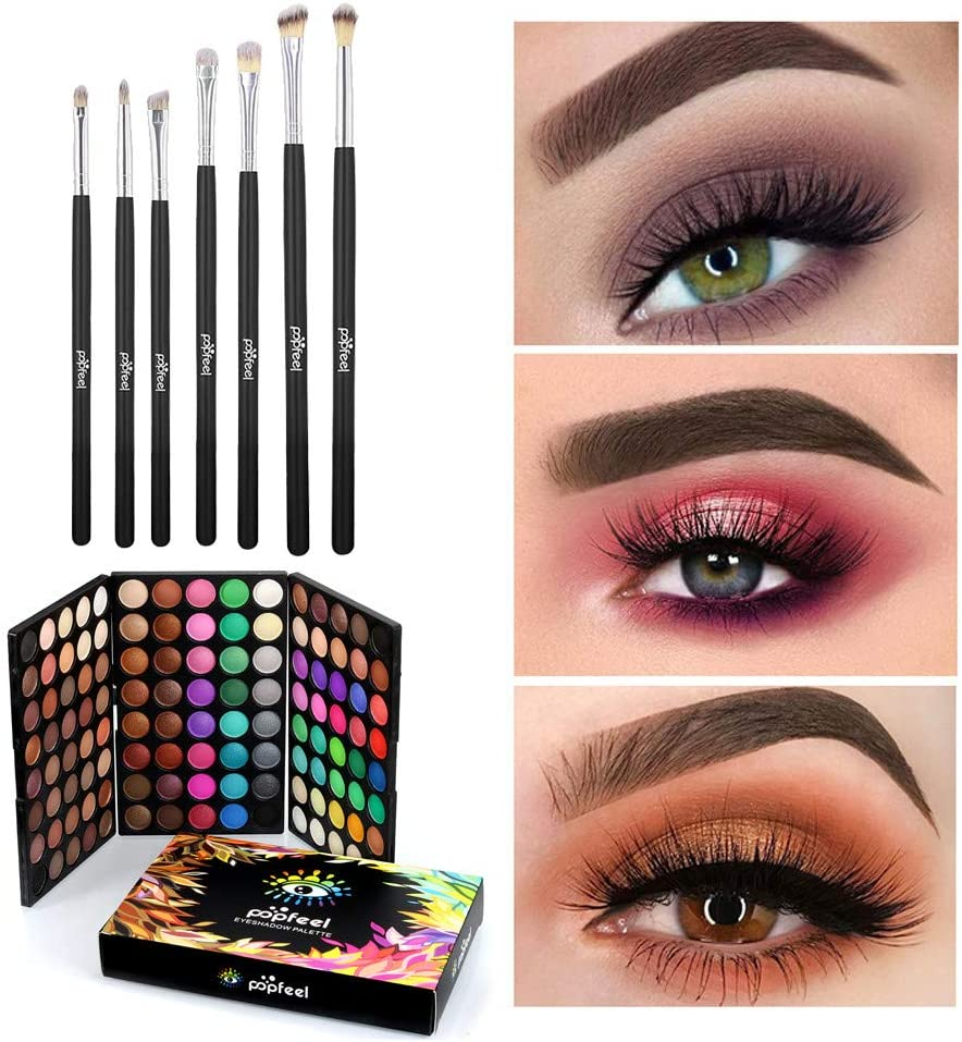 Haluoo/_Beauty Multicolor Eyeshadow Palette+Eyeshadow Brushes Set,Haluoo 120 Colors Professional Shimmer Matt Eye Shadow High Pigment Waterproof Long Lasting Eye Makeup with 7 Pcs Brushes Makeup Kit