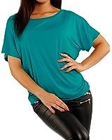 Damen Basic Shirt T-Shirt Oversize Look (34/36, Petrol)