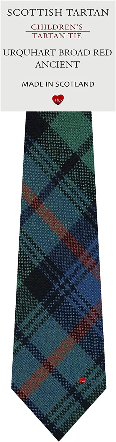 Boys All Wool Tie Woven And Made in Scotland in Urquhart Broad Red Ancient Tartan: Clothing