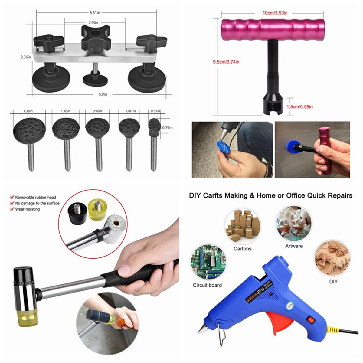 Super PDR DIY Car Auto Body Dent Removal Repair Tools Kits Car Scratch Remover Pen Dent Board Slide Hammer Working Gloves Glue Puller Sets Black Tool Box by Super PDR (Image #5)